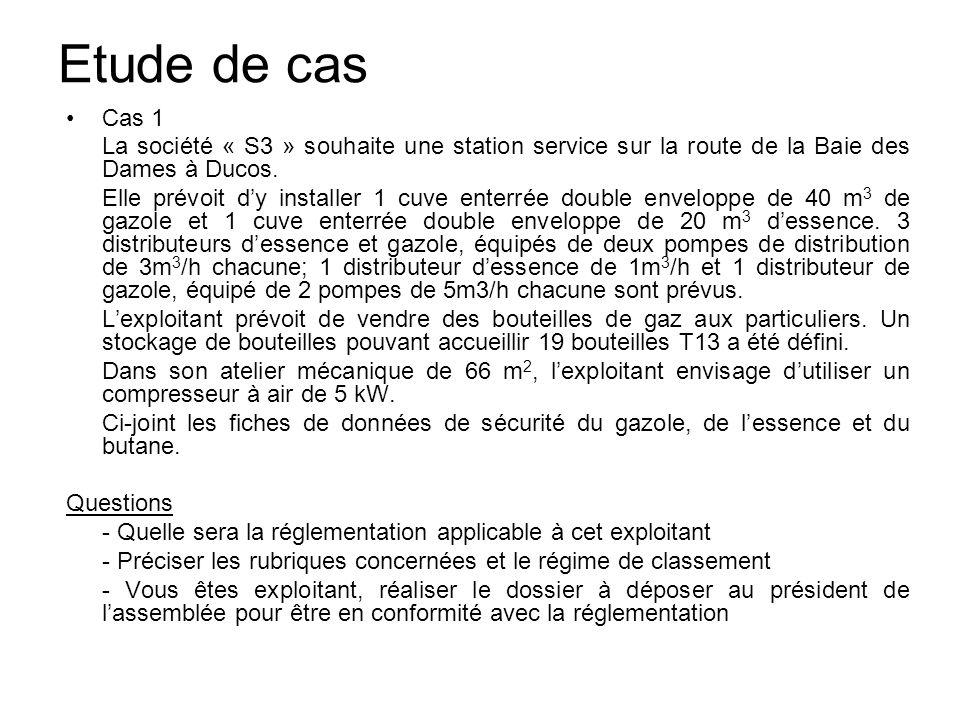 Etude de casCas 1. La société « S3 » souhaite une station service sur la route de la Baie des Dames à Ducos.