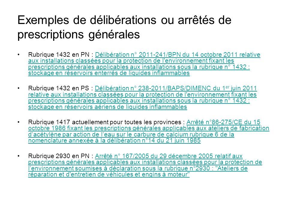 Exemples de délibérations ou arrêtés de prescriptions générales