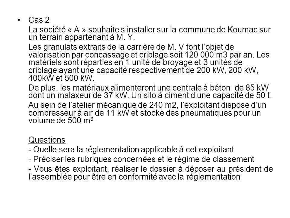 Cas 2La société « A » souhaite s'installer sur la commune de Koumac sur un terrain appartenant à M. Y.