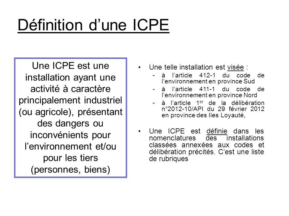 Définition d'une ICPE
