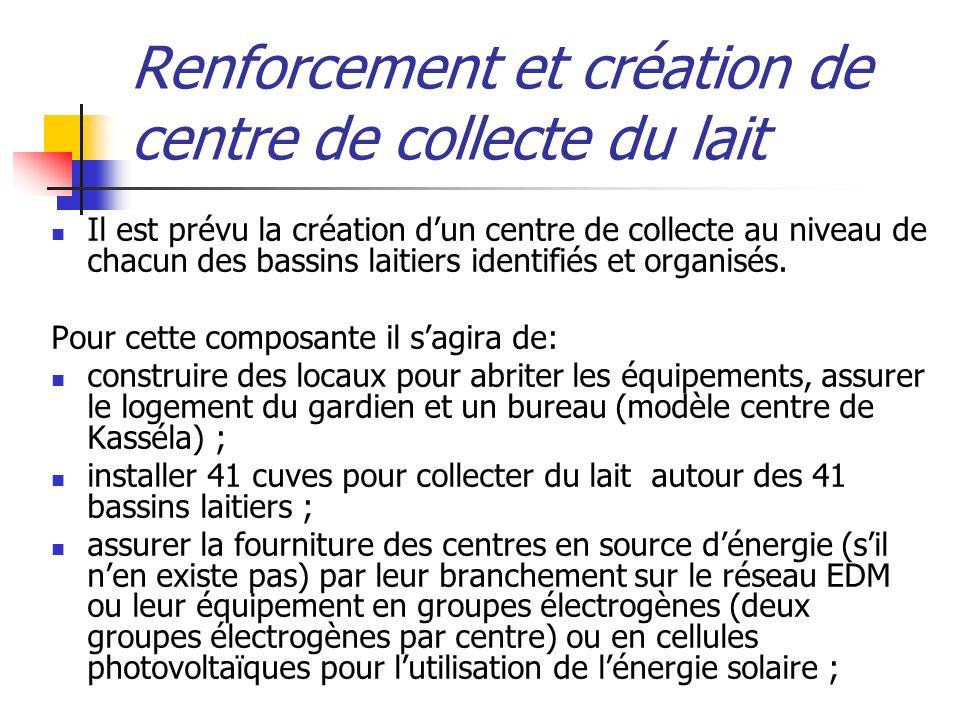 Renforcement et création de centre de collecte du lait
