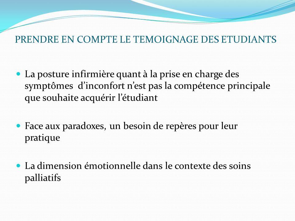 PRENDRE EN COMPTE LE TEMOIGNAGE DES ETUDIANTS