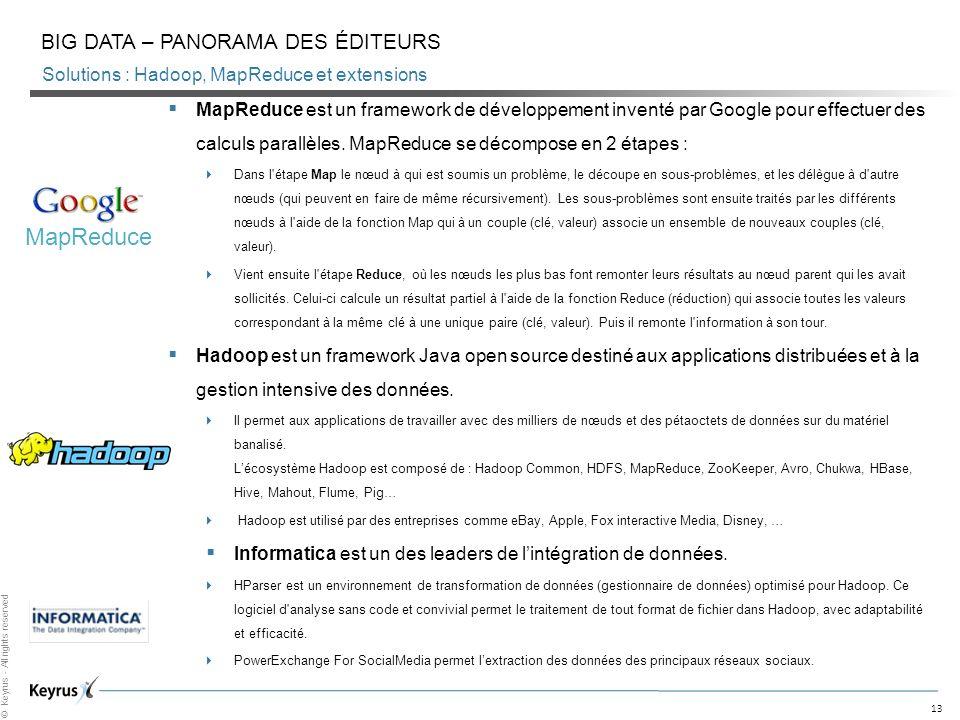 Solutions : Hadoop, MapReduce et extensions