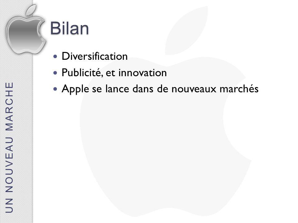 Bilan Diversification Publicité, et innovation