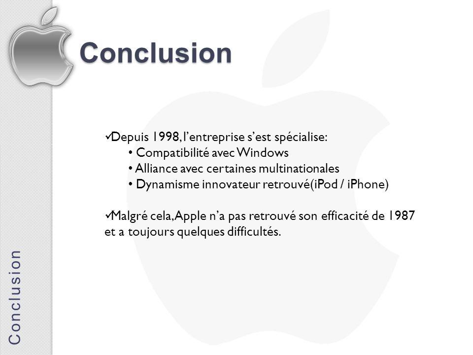 Conclusion Conclusion Depuis 1998, l'entreprise s'est spécialise:
