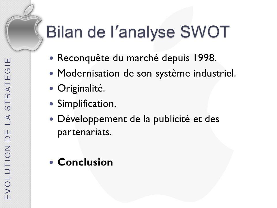 Bilan de l'analyse SWOT