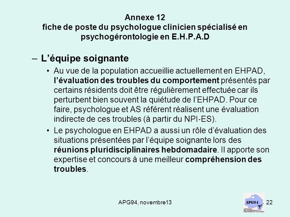 Annexe 12 fiche de poste du psychologue clinicien spécialisé en psychogérontologie en E.H.P.A.D