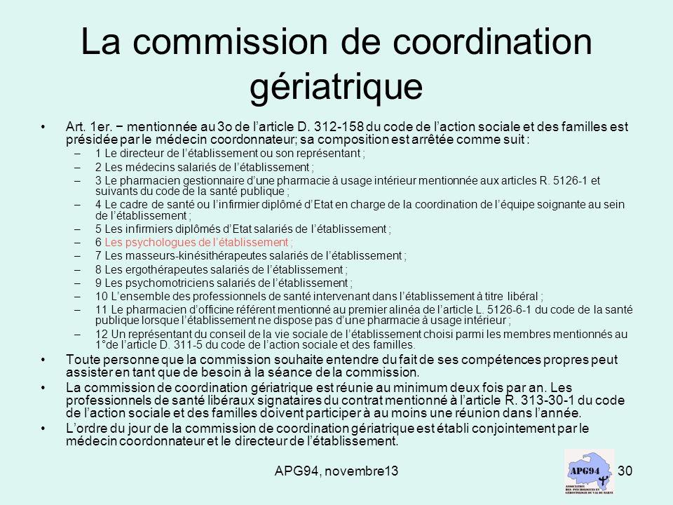 La commission de coordination gériatrique