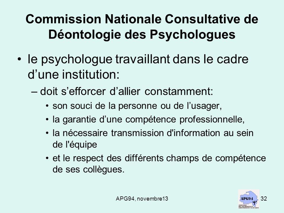 Commission Nationale Consultative de Déontologie des Psychologues