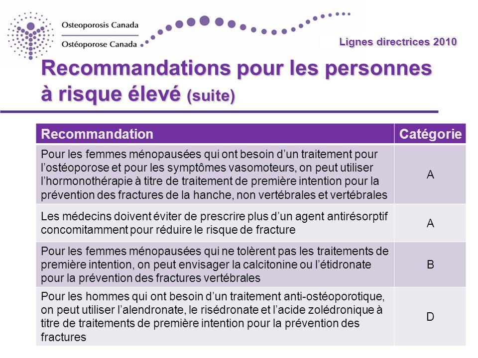 Recommandations pour les personnes à risque élevé (suite)