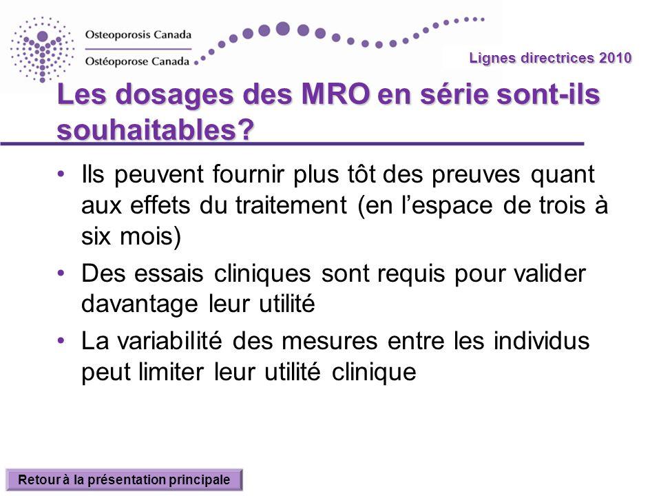 Les dosages des MRO en série sont-ils souhaitables