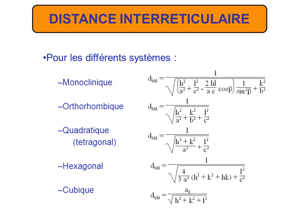 DISTANCE INTERRETICULAIRE