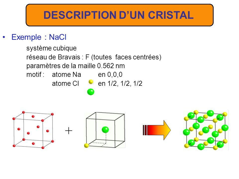 DESCRIPTION D'UN CRISTAL