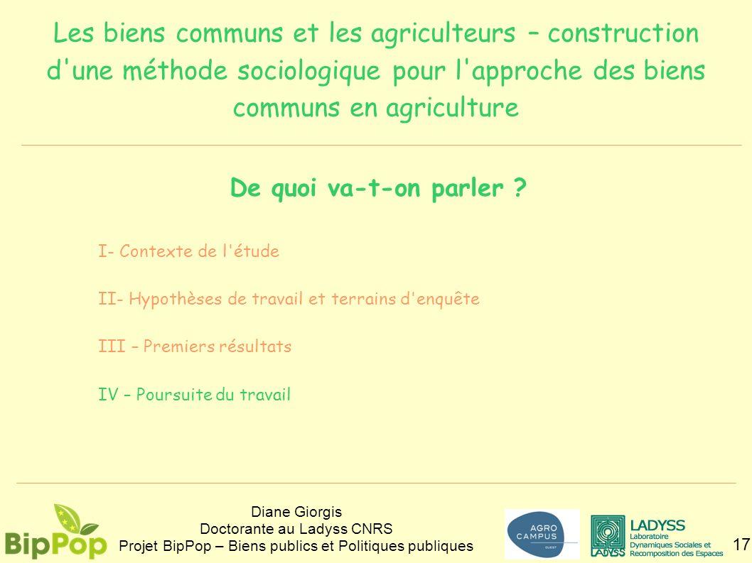 Les biens communs et les agriculteurs – construction d une méthode sociologique pour l approche des biens communs en agriculture