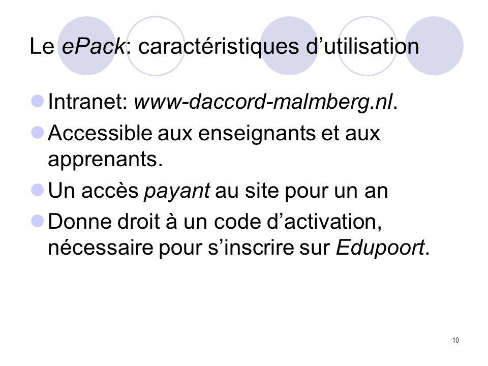 Le ePack: caractéristiques d'utilisation