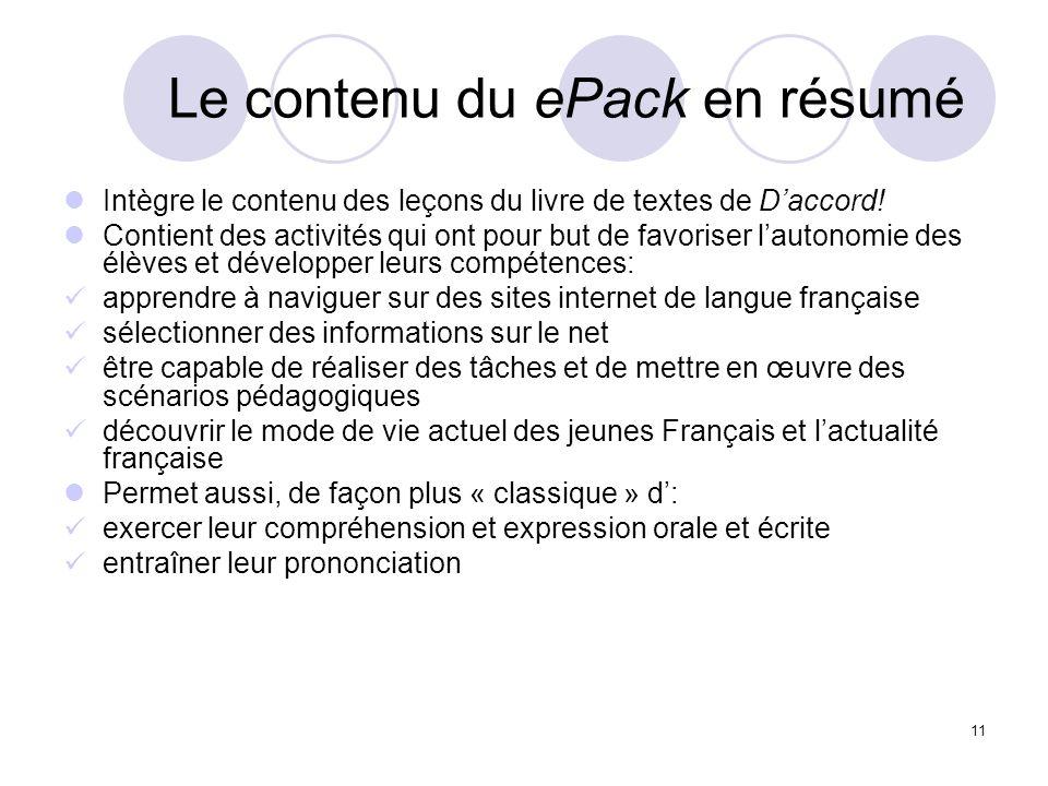 Le contenu du ePack en résumé