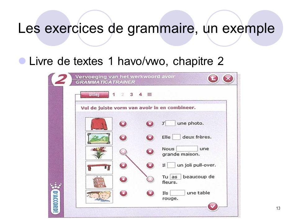 Les exercices de grammaire, un exemple