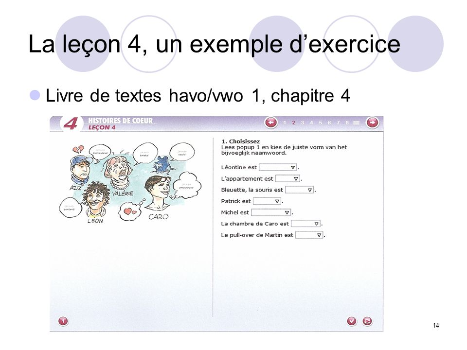 La leçon 4, un exemple d'exercice