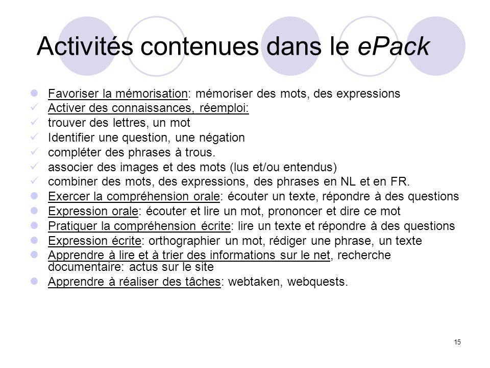 Activités contenues dans le ePack