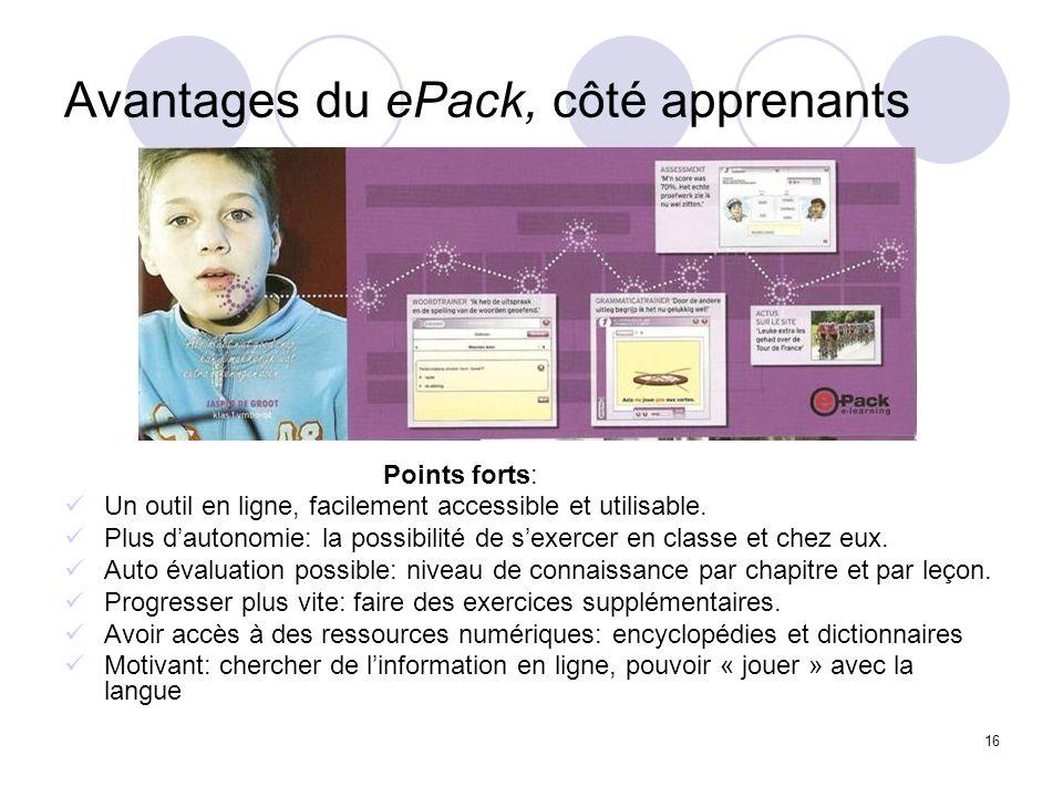 Avantages du ePack, côté apprenants