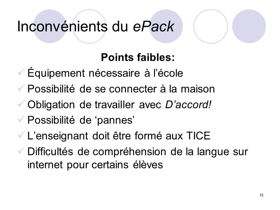 Inconvénients du ePack