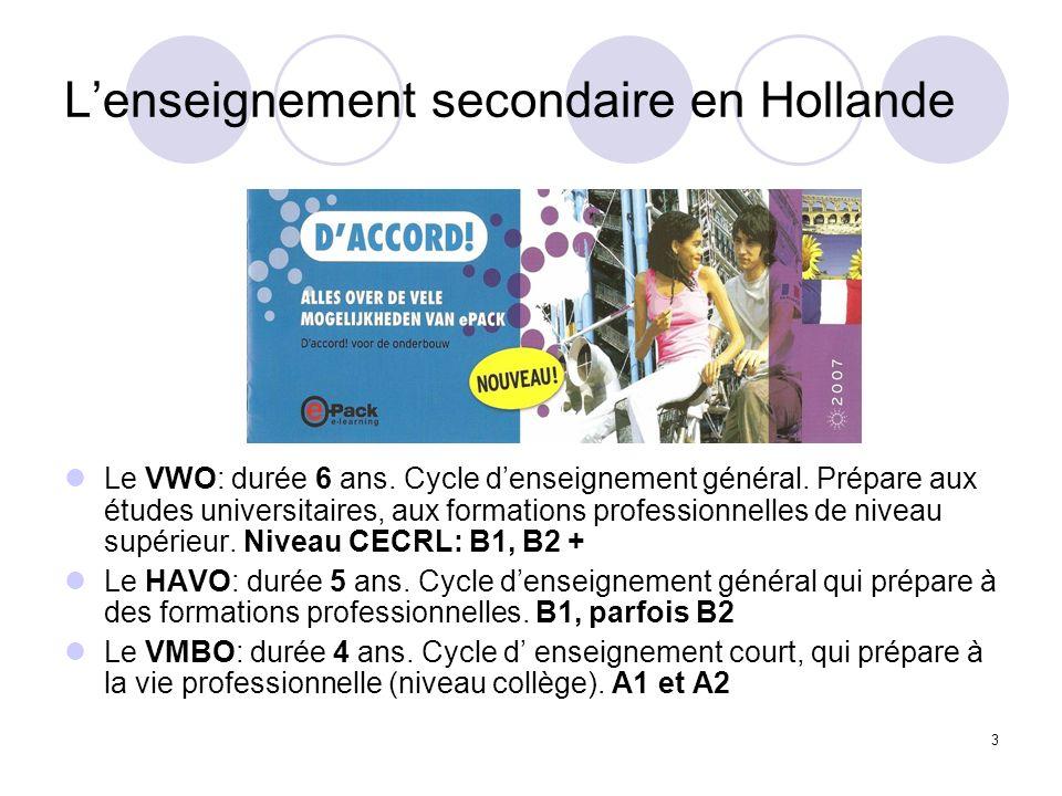 L'enseignement secondaire en Hollande