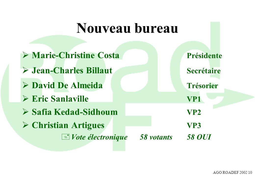 Nouveau bureau Marie-Christine Costa Présidente