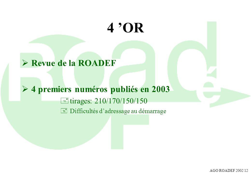 4 'OR Revue de la ROADEF 4 premiers numéros publiés en 2003