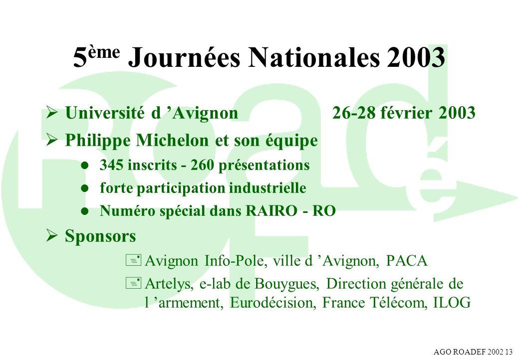 5ème Journées Nationales 2003