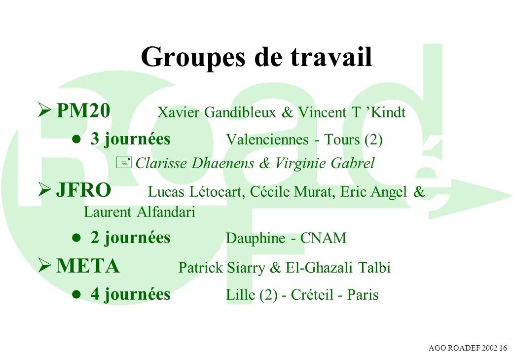 Groupes de travail PM20 Xavier Gandibleux & Vincent T 'Kindt