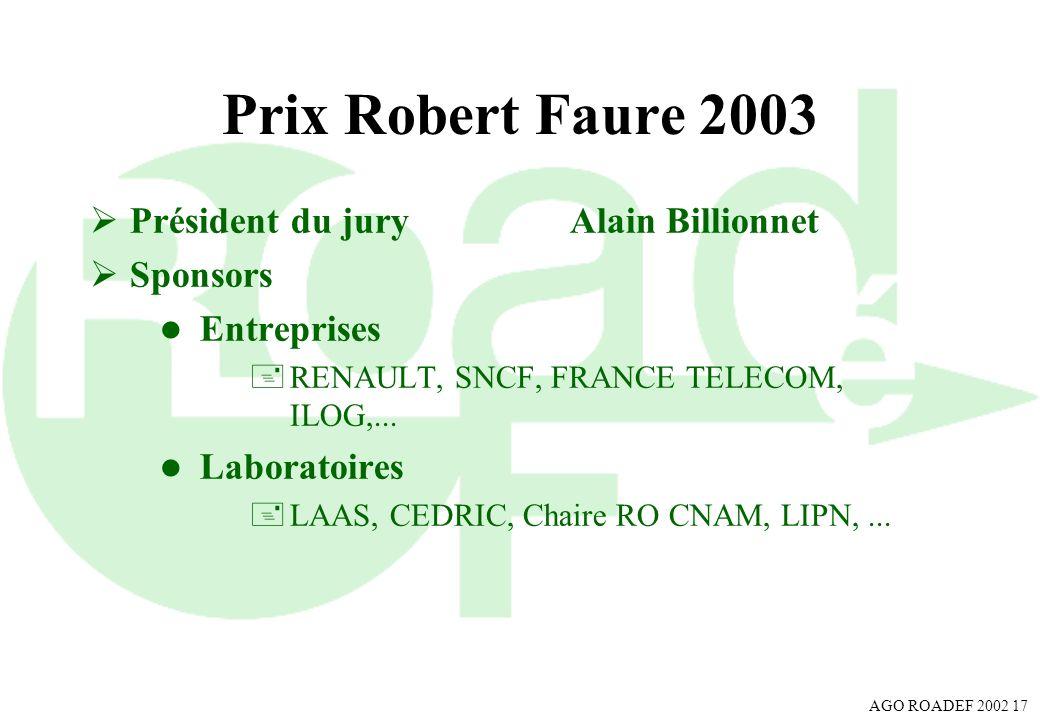 Prix Robert Faure 2003 Président du jury Alain Billionnet Sponsors