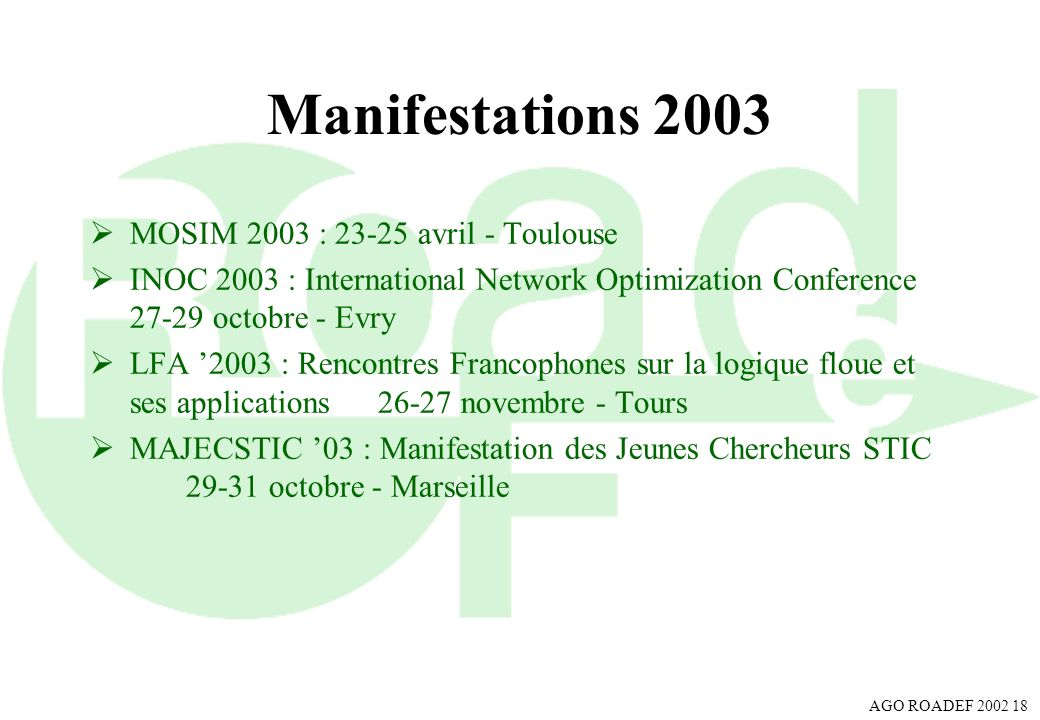 Manifestations 2003 MOSIM 2003 : avril - Toulouse