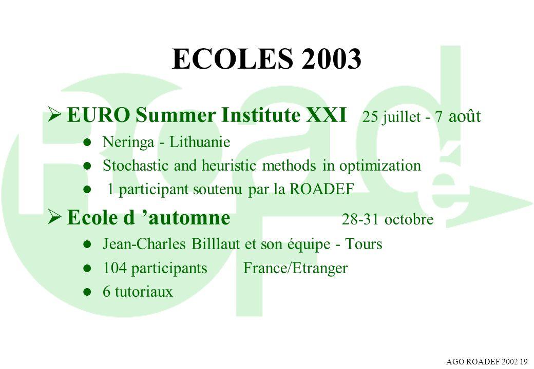 ECOLES 2003 EURO Summer Institute XXI 25 juillet - 7 août