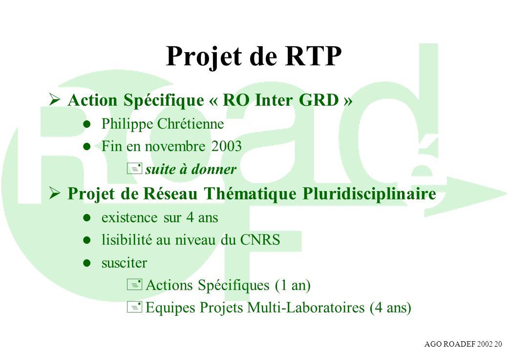 Projet de RTP Action Spécifique « RO Inter GRD »