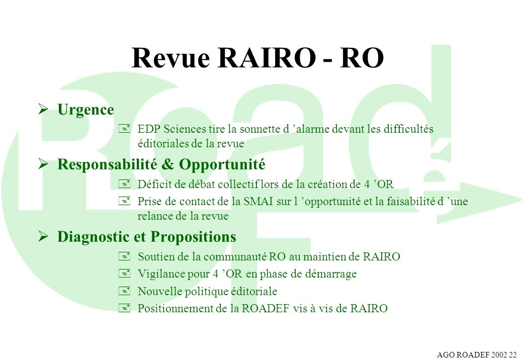Revue RAIRO - RO Urgence Responsabilité & Opportunité