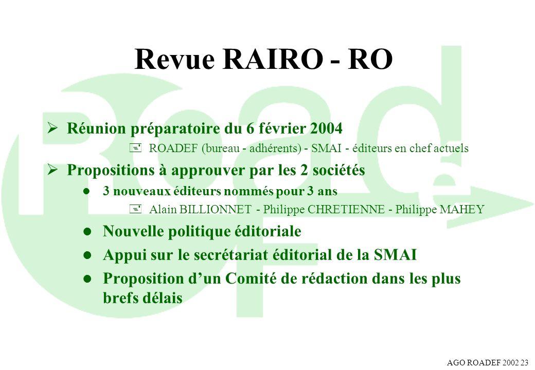 Revue RAIRO - RO Réunion préparatoire du 6 février 2004