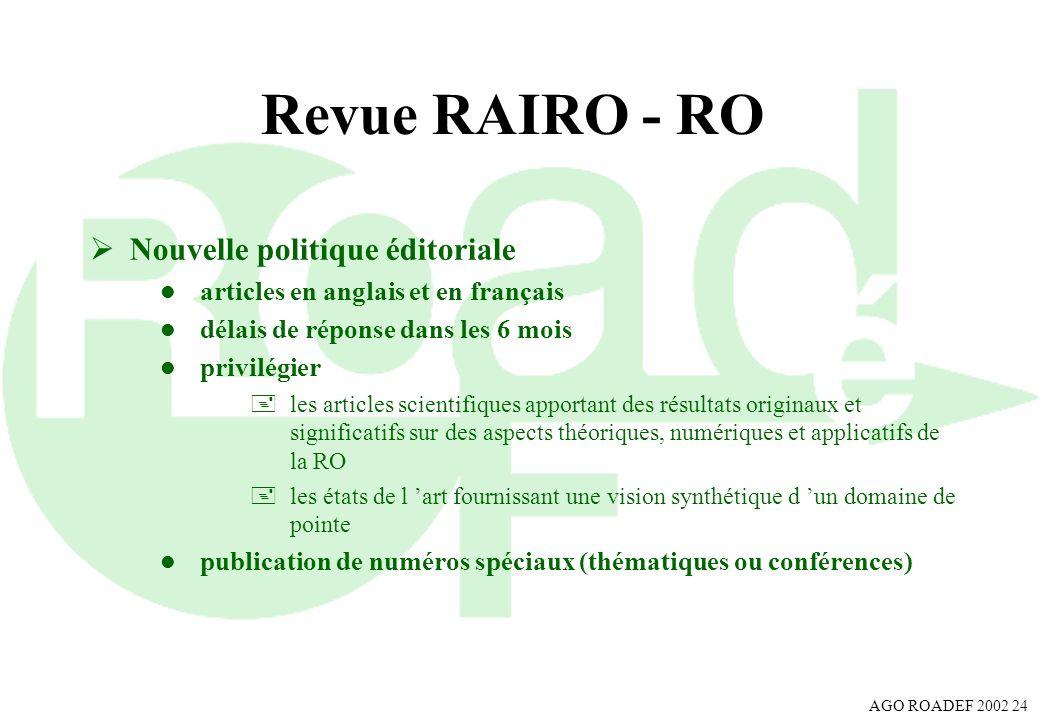 Revue RAIRO - RO Nouvelle politique éditoriale