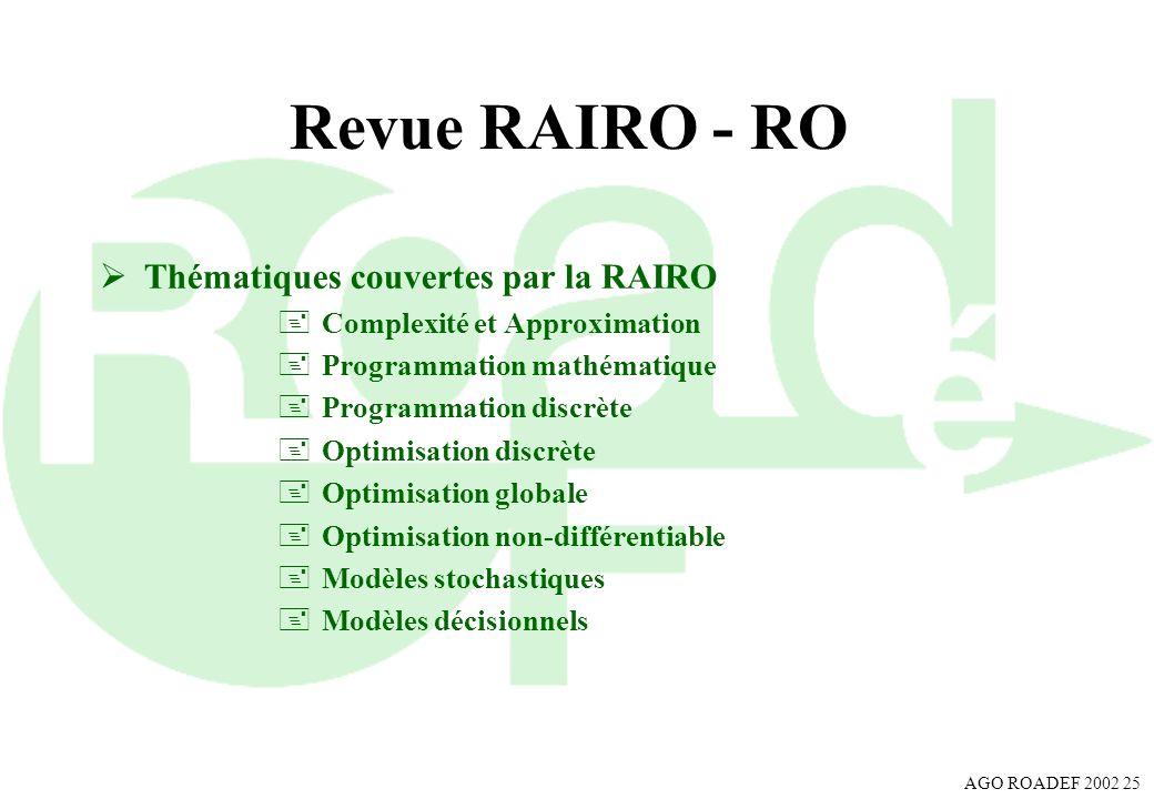 Revue RAIRO - RO Thématiques couvertes par la RAIRO