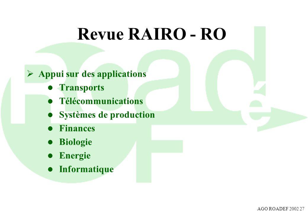 Revue RAIRO - RO Appui sur des applications Transports