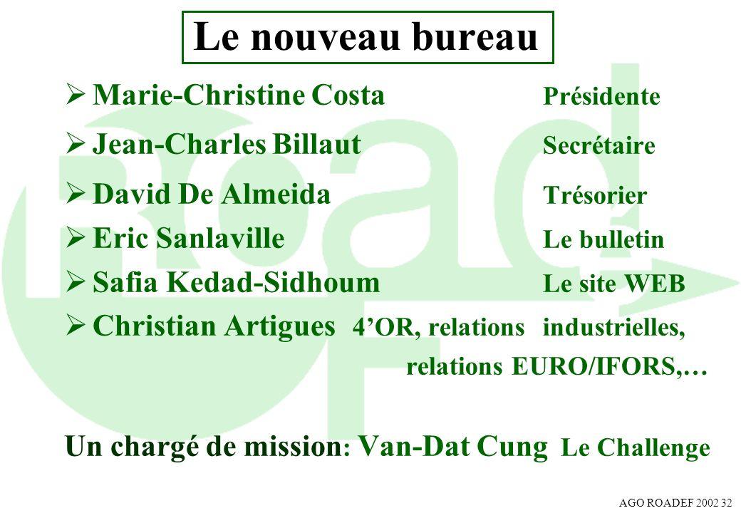 Le nouveau bureau Marie-Christine Costa Présidente