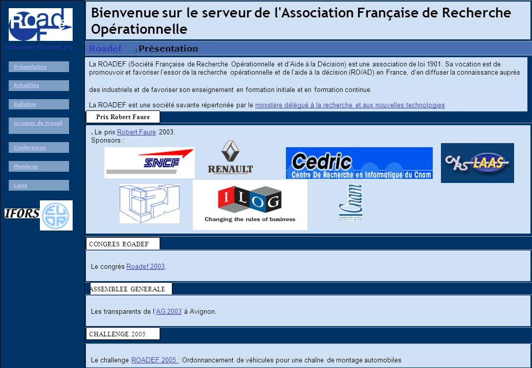 Bienvenue sur le serveur de l Association Française de Recherche Opérationnelle