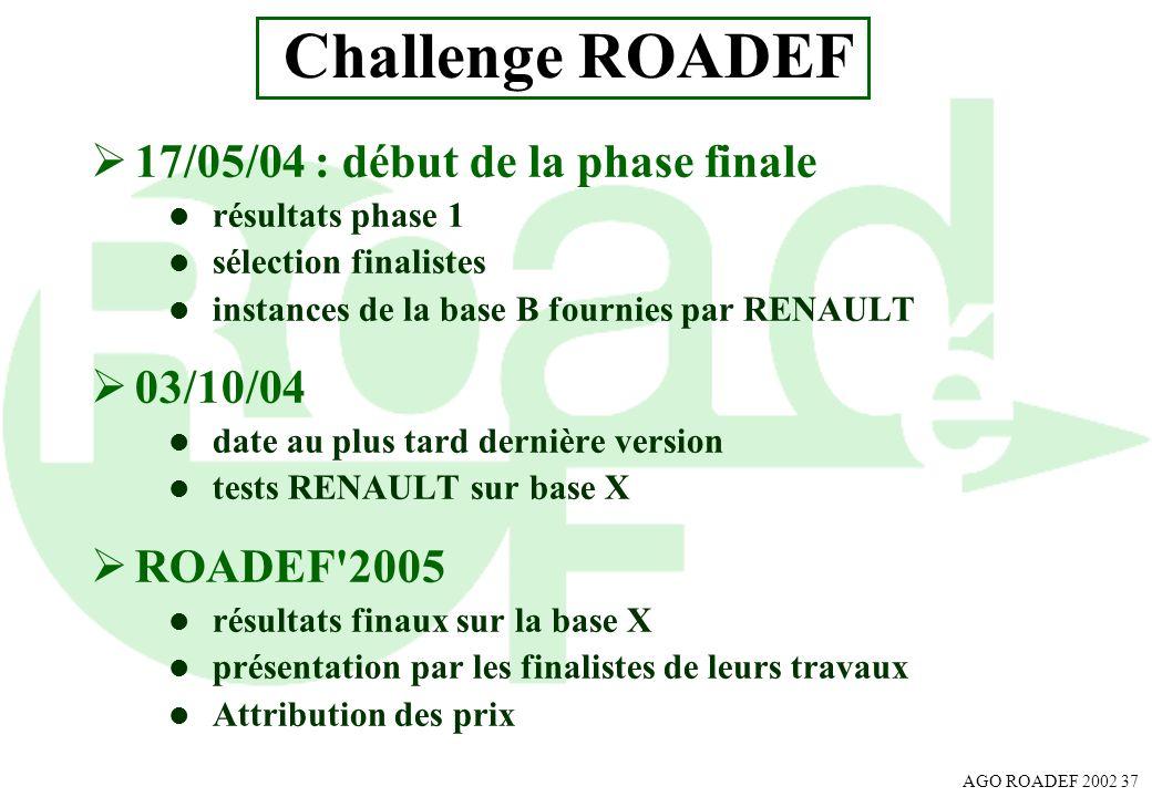 Challenge ROADEF 17/05/04 : début de la phase finale 03/10/04