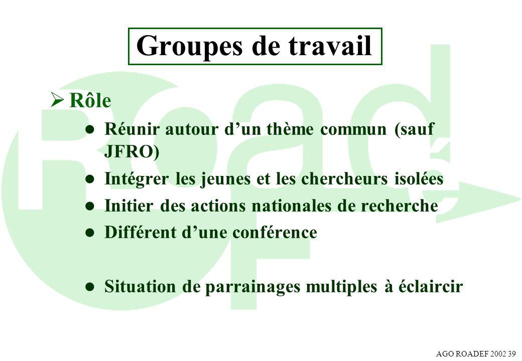 Groupes de travail Rôle Réunir autour d'un thème commun (sauf JFRO)