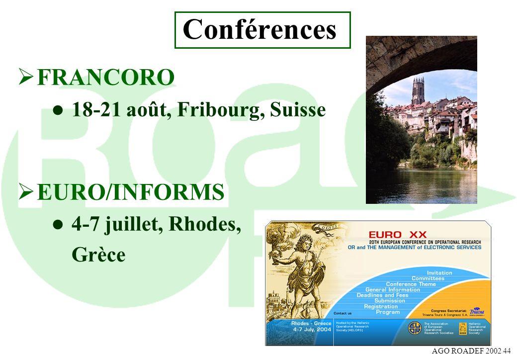 Conférences FRANCORO EURO/INFORMS 18-21 août, Fribourg, Suisse