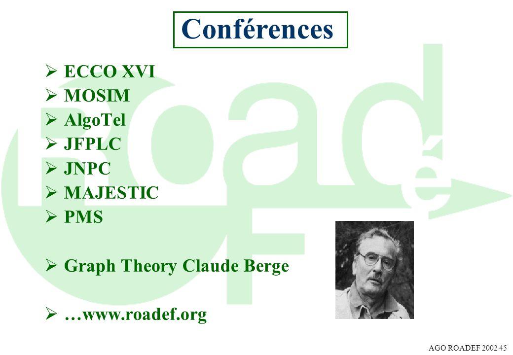 Conférences ECCO XVI MOSIM AlgoTel JFPLC JNPC MAJESTIC PMS