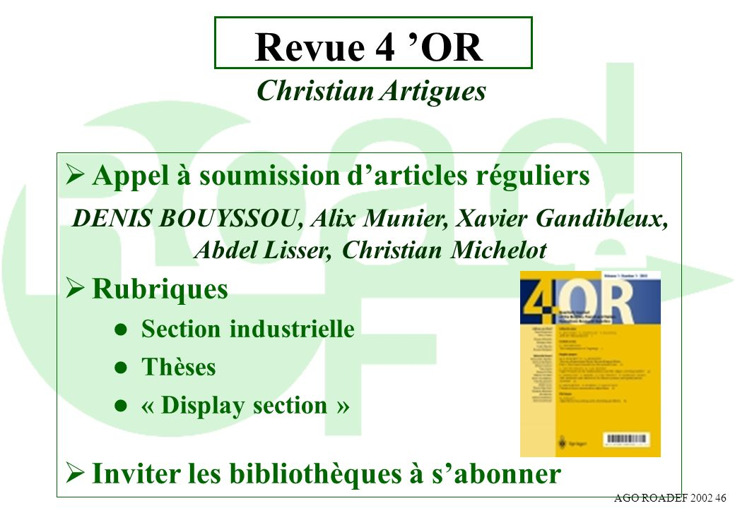 Revue 4 'OR Christian Artigues Appel à soumission d'articles réguliers