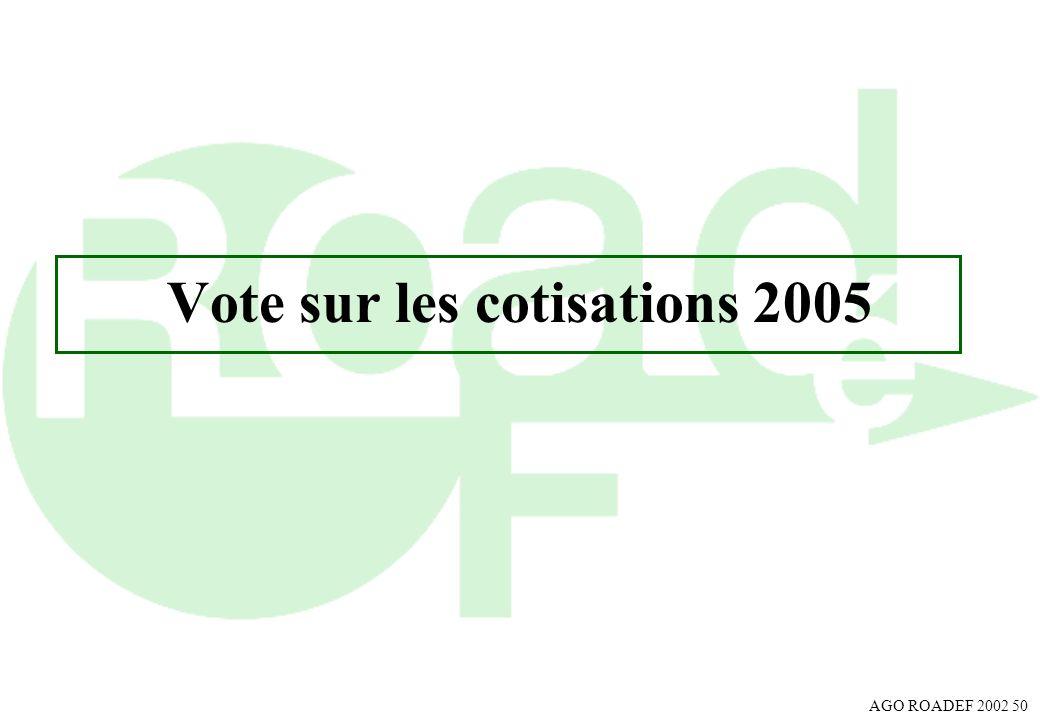 Vote sur les cotisations 2005