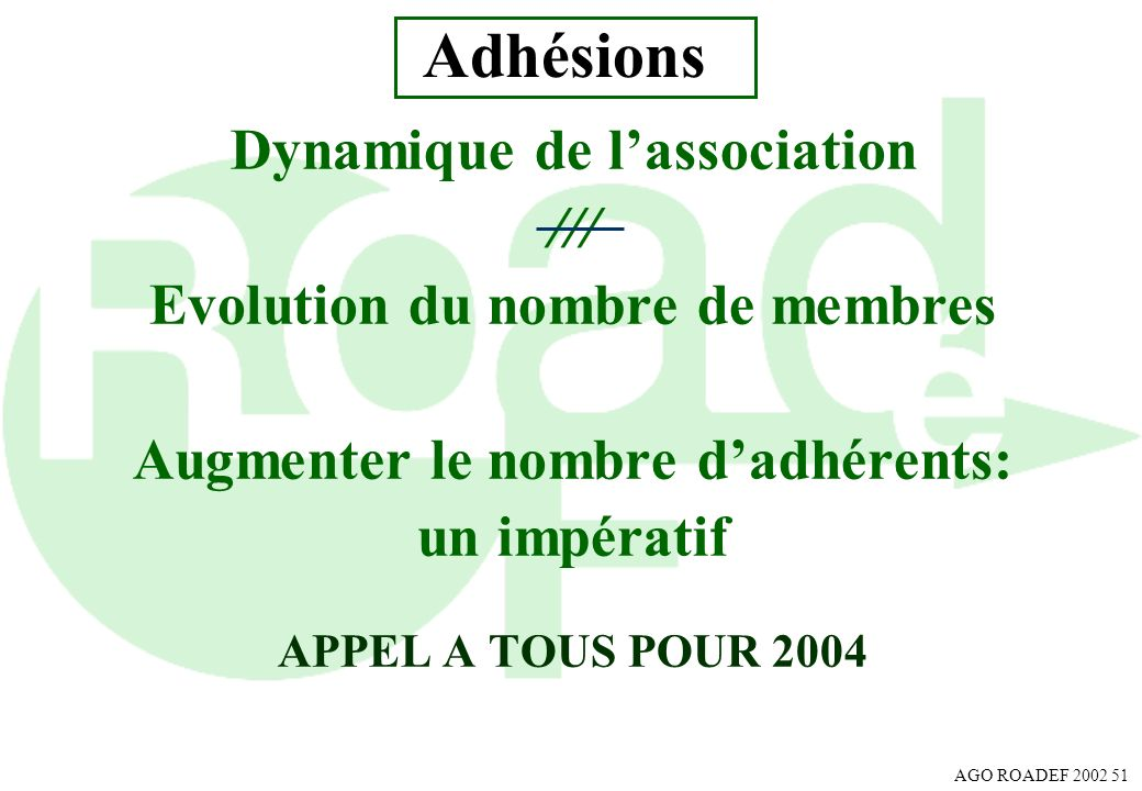 Adhésions Dynamique de l'association ///