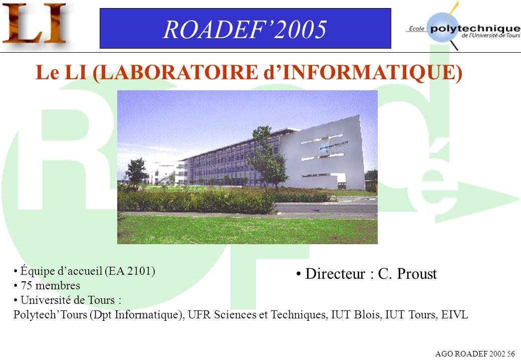 ROADEF'2005 Le LI (LABORATOIRE d'INFORMATIQUE) Directeur : C. Proust