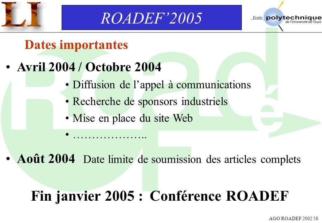 Fin janvier 2005 : Conférence ROADEF
